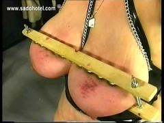 German master spankes older slave on her fat ass and plays with her large tits bdsm