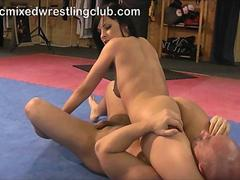 erotic mixed wrestling club Abbie Cat vs Miki