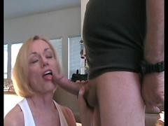 Attractive blonde MILF enjoying a fat schlong