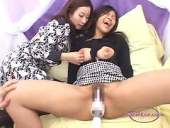 Busty Asian Girl Getting Her Nipples Sucked Pussy Stimulated With Vibrator And Fingered On The Couch
