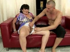 Naughty gilf enjoys good sex with a strong young lover