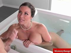 Busty milfs handjob in the bathroom