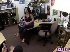 teen is at the pawnshop getting her cunt smashed hard