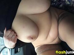 Fat Pussy And Tits Flashed In The Car
