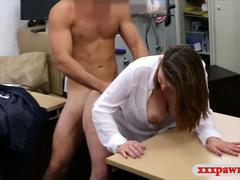 Business woman gets her pussy screwed by pawn keeper