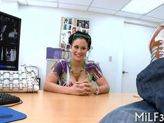 Milf with a great booty bends over for office doggystyle sex