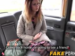 Sexy brunette Eva gets her tight pussy fucked in the taxi