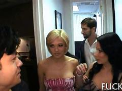 Porn star chicks caught behind the scenes getting fucked