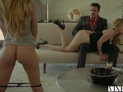VIXEN.com Rich Boss Gets Threesome with Two Blondes