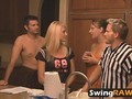 Unstable couple has a fight on the swinger party