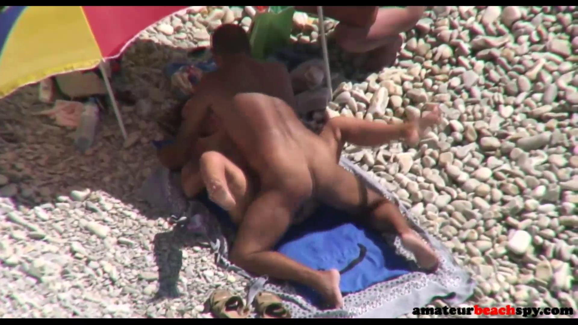 Voyeur nude having beach sex couple