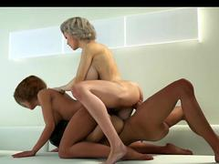 Busty animated shemales in threesome orgy