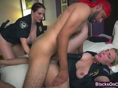 Black thug with big cock fucking two busty police officers