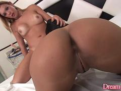 Shemale Alexia Freire barebacks with girl and guy