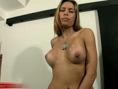 Voluptuous shedoll plays with boobs and shaft until she cums