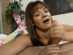 Sweet looking brunette whore is here to suck a dick