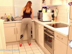 Hot doggy and creampie in the kitchen with sexy German teen!