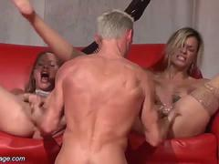 threesome fuck orgy on public stage segment