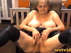 Granny wants to masturbate with her fav toys in front of the webcam and tease for money