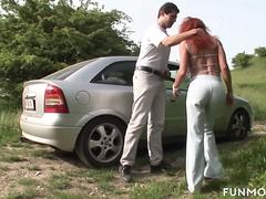 Busty German Moms fuck in public park