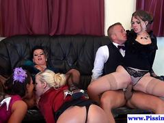 Kinky clothed babes and their boy toy have wild fuck fest