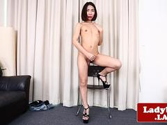 Oriental tgirl beauty strips and jerks solo