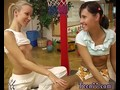 Hot girls lesbian strapon Cindy and Amber ravaging each other in the gym