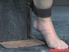 Anal hooked restrained sub whipped by maledom