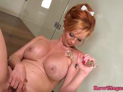 Solo ginger euro babe rubs and toys her pussy