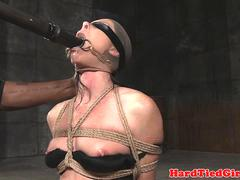 Skinny bdsm sub gagged and toyed by maledom