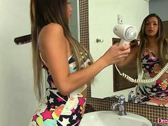 Beautiful Shemale Julia Steinkopf Washes Her Erect Cock at the Sink