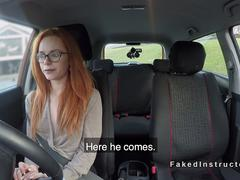 Slim redhead banged her driving examiner