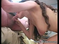 Busty brunette amateur Jane gives blowjob