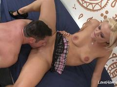 Blonde on her knees sucking before having sex