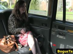 Stockinged UK babe fucked by taxi driver