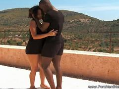 Erotic Ebony Couple Fucking Outside