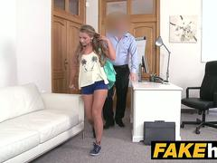 Fake Agent Blonde with Hairy Pussy banged on the casting couch