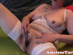 Lingerie amateur toys mature pussy on camera