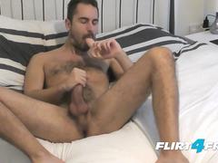 Antonio West - Flirt4Free Model - Hunk Blows a Big Load on His Hairy Abs While Pounding His Ass