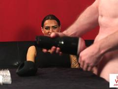 British femdom instructs sub to jerkoff w toy