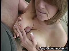 Busty amateur Lisa sucking cock on POV
