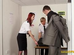 Security Sluts Play With Man's Dick