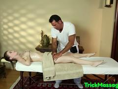 Petite babe massaged before deepthroating