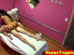 Oriental masseuse pussylicked in threeway