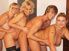 Young stud doing three blonde matures