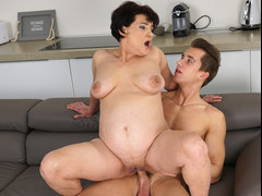 MAture brunette craves to get nailed by that well endowed young dude in different poses