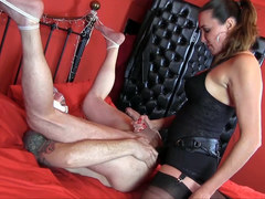 Horny gimp raw despunked after femdom Strapon Jane had him gagging ass fucking big strapon cock