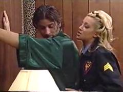 Jill Kelly cop chick sucking on her culprits dick