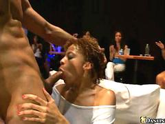 Exotic cum craving MILF wraps big lips around strippers Cock
