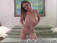 Holly strips and licking her own tits